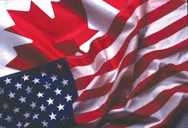 Canadian-American flags together